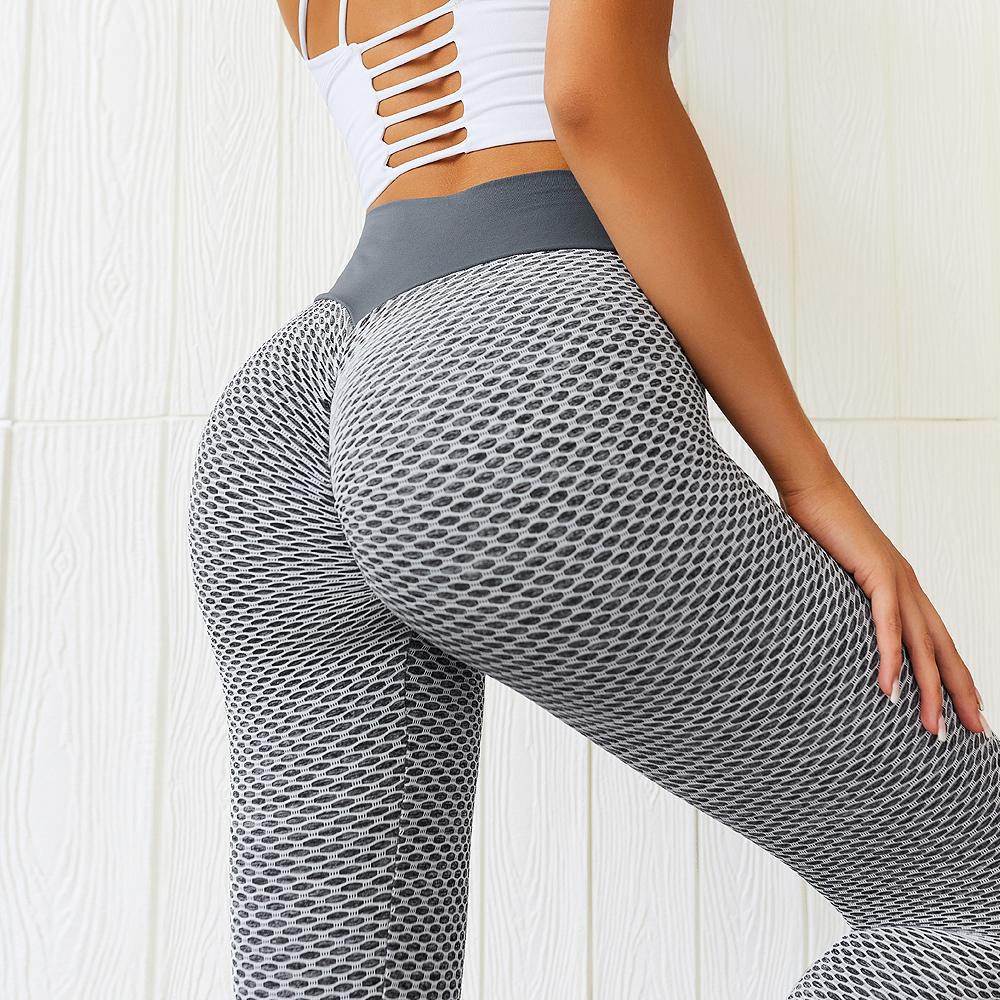 网红欧美风蜜桃臀提花瑜伽裤 高腰紧身运动长裤 无缝弹性健身裤女