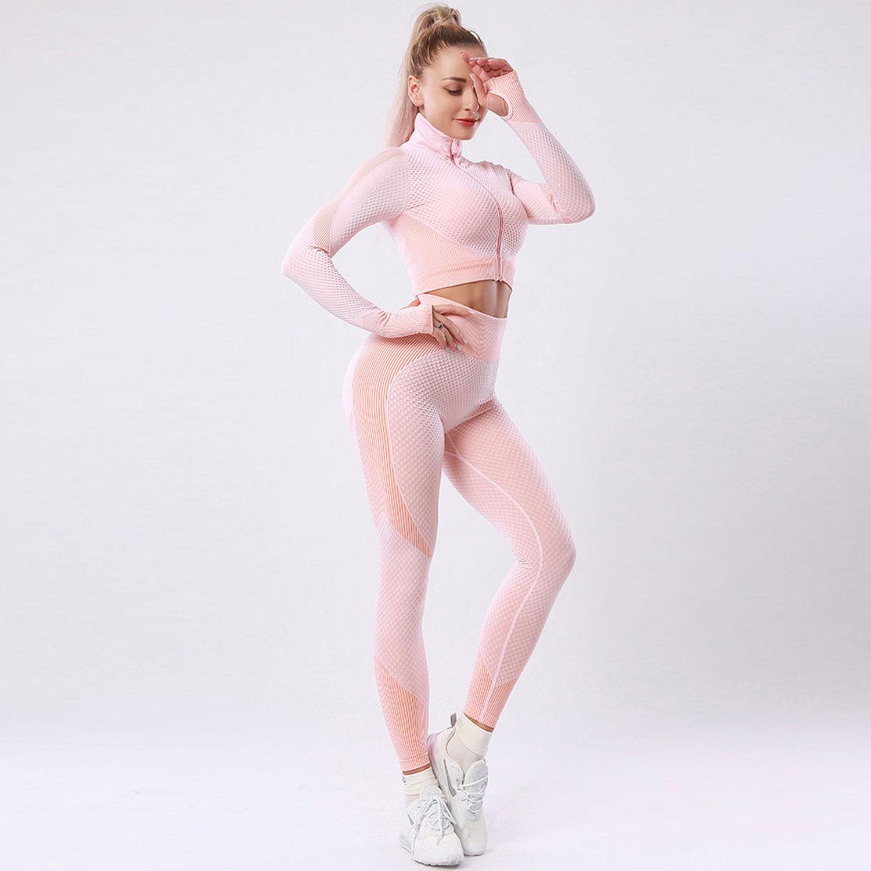 欧美爆款瑜伽服套装 女无缝高腰显瘦健身运动服